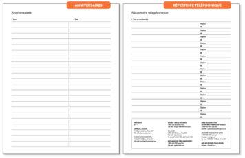 Page Anniversaires et Page Répertoire Téléphonique